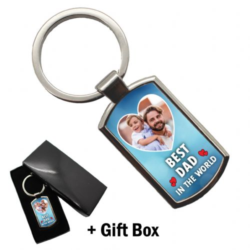 Personalised Best Dad in the world PHOTO Metal Keyring with FREE giftbox N2